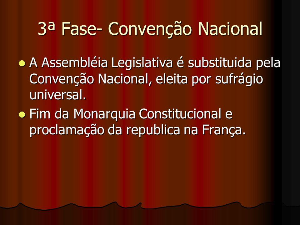 3ª Fase- Convenção Nacional A Assembléia Legislativa é substituida pela Convenção Nacional, eleita por sufrágio universal. A Assembléia Legislativa é