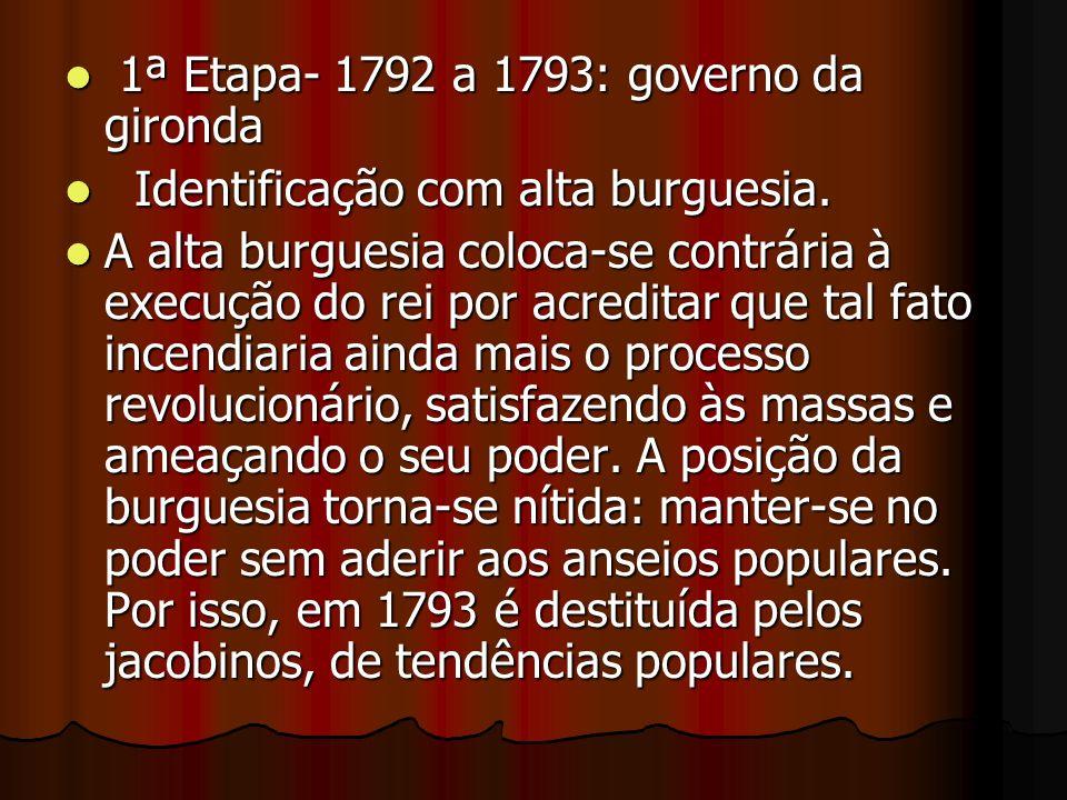 1ª Etapa- 1792 a 1793: governo da gironda 1ª Etapa- 1792 a 1793: governo da gironda Identificação com alta burguesia. Identificação com alta burguesia