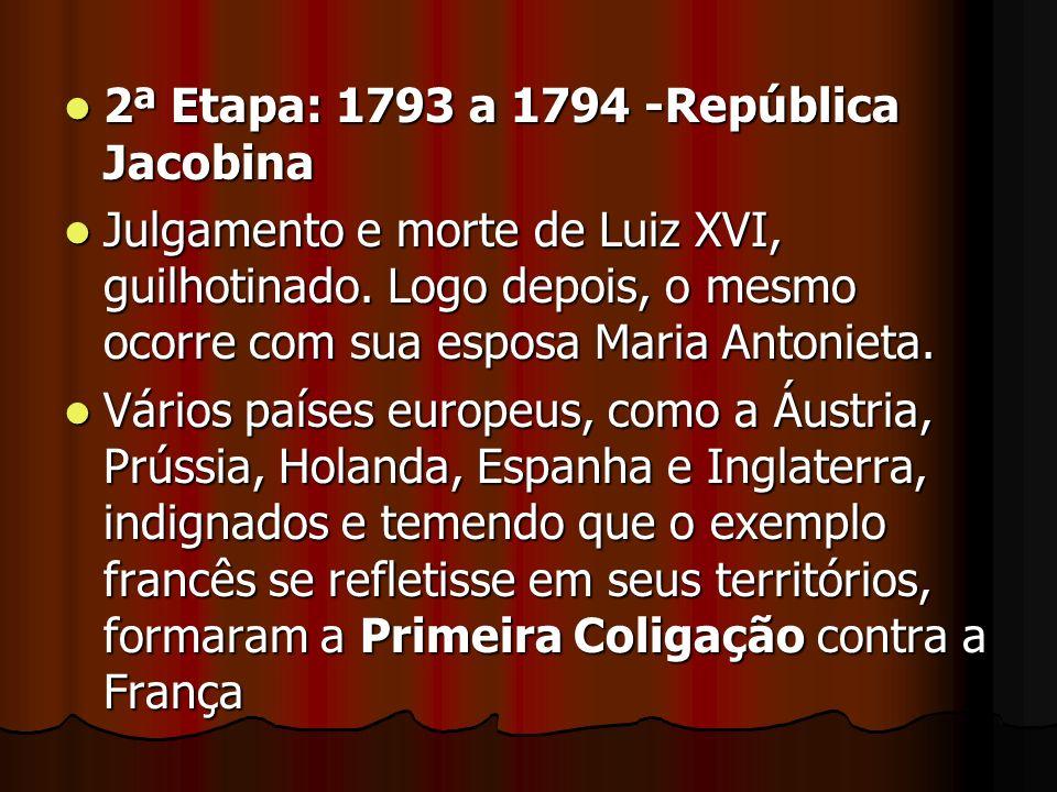 2ª Etapa: 1793 a 1794 -República Jacobina 2ª Etapa: 1793 a 1794 -República Jacobina Julgamento e morte de Luiz XVI, guilhotinado. Logo depois, o mesmo