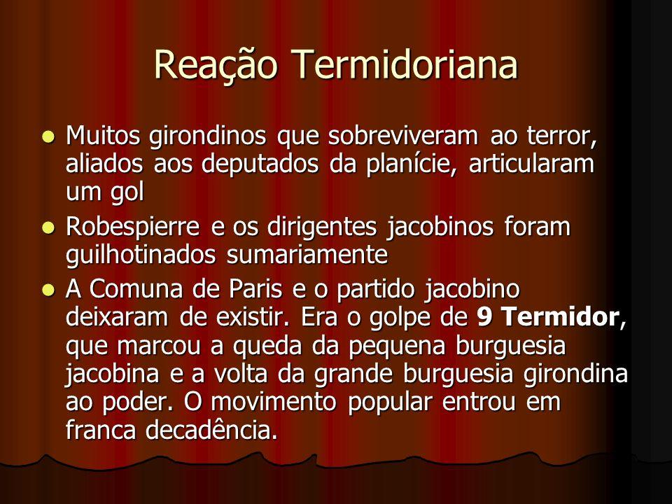 Reação Termidoriana Muitos girondinos que sobreviveram ao terror, aliados aos deputados da planície, articularam um gol Muitos girondinos que sobreviv