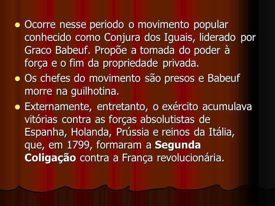 Ocorre nesse periodo o movimento popular conhecido como Conjura dos Iguais, liderado por Graco Babeuf. Propõe a tomada do poder à força e o fim da pro