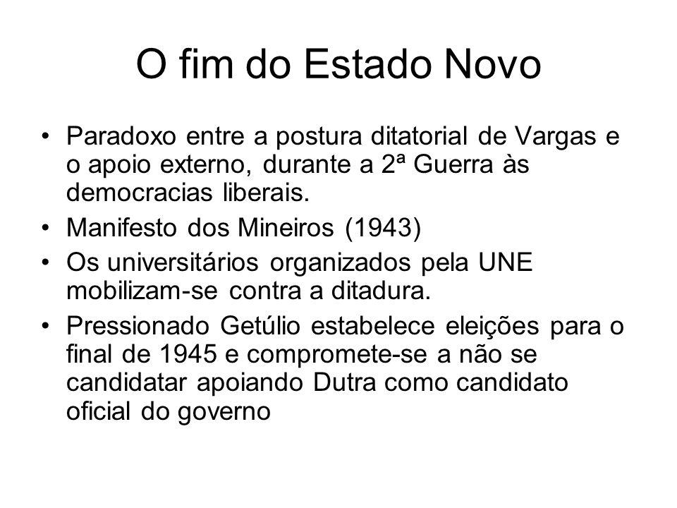 Formação do Partidos União Democrática Nacional (UDN)- Partido que agrupa a oposição, lança como candidato Eduardo Gomes Partido Social Democrático (PDS)- grupo de apoio ao governo que lança como candidato Eurico Gaspar Dutra.
