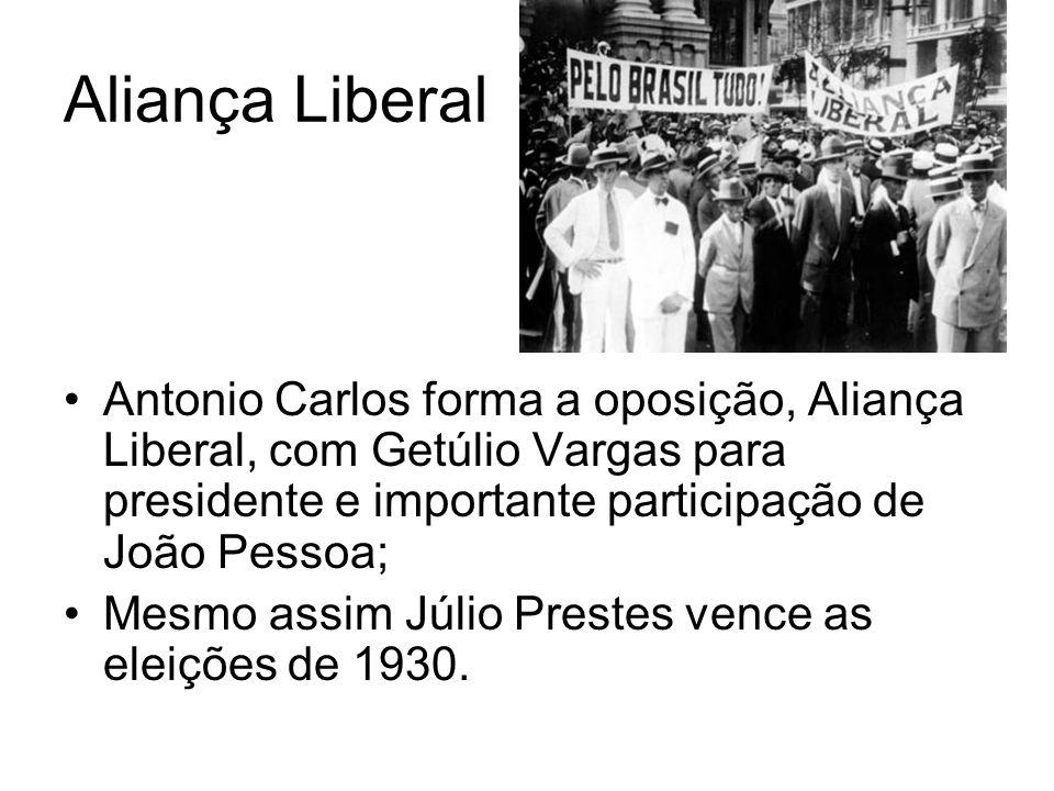 A Revolução de 1930 Assassinado de João Pessoa Os militares, encabeçados por Getúlio Vargas, se aproveitando da frágil situação de Washinton Luís, o depõe para instaurar o governo provisório.
