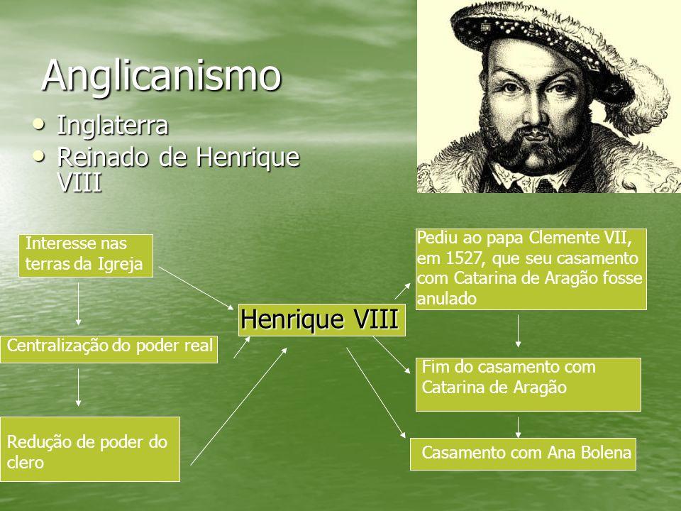 Anglicanismo Inglaterra Inglaterra Reinado de Henrique VIII Reinado de Henrique VIII Henrique VIII Interesse nas terras da Igreja Fim do casamento com