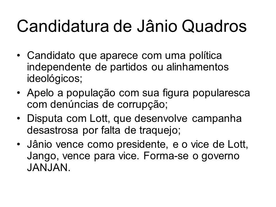 Candidatura de Jânio Quadros Candidato que aparece com uma política independente de partidos ou alinhamentos ideológicos; Apelo a população com sua fi