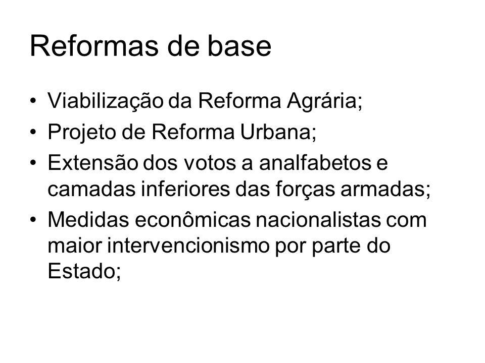 Reformas de base Viabilização da Reforma Agrária; Projeto de Reforma Urbana; Extensão dos votos a analfabetos e camadas inferiores das forças armadas;