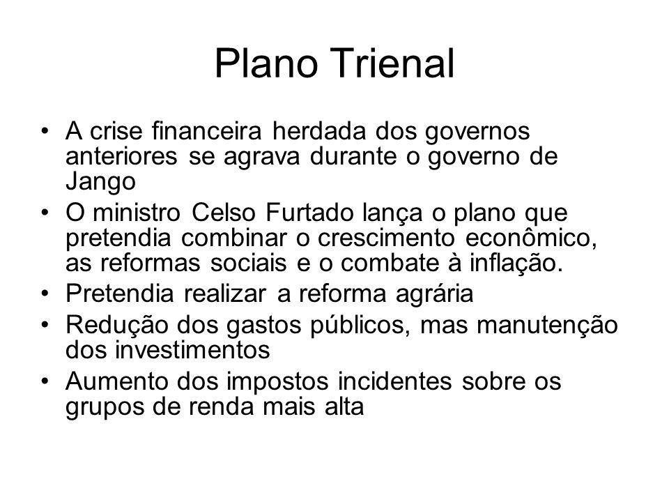 Plano Trienal A crise financeira herdada dos governos anteriores se agrava durante o governo de Jango O ministro Celso Furtado lança o plano que prete