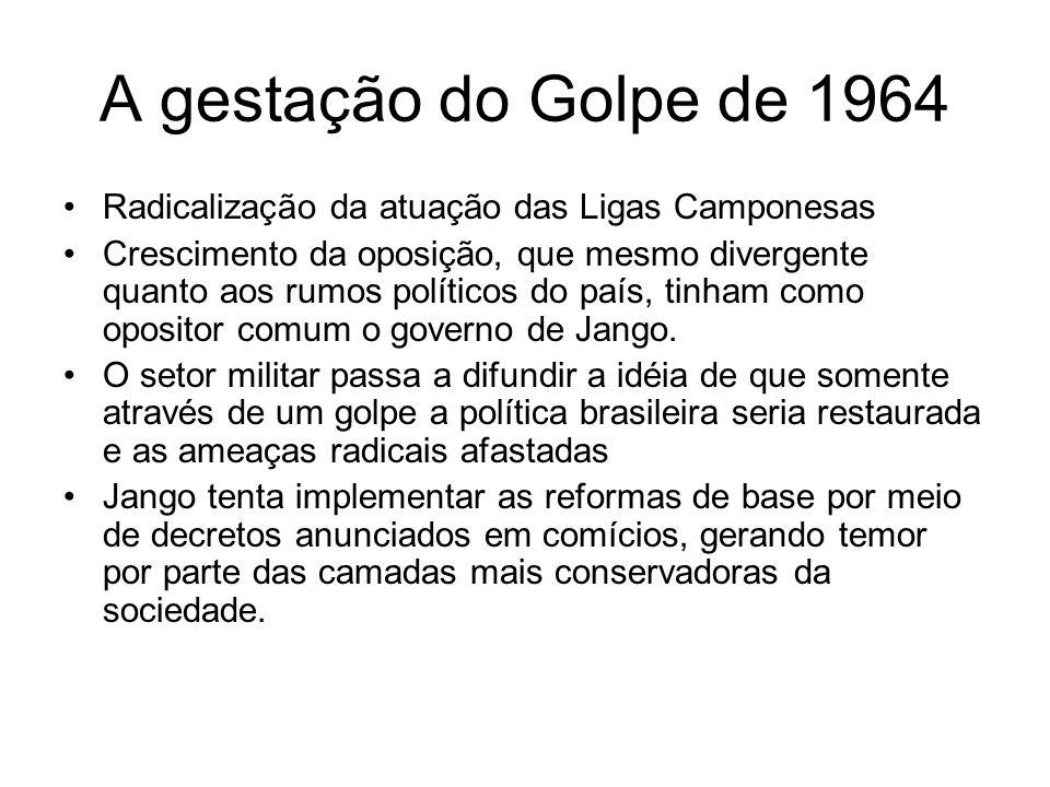A gestação do Golpe de 1964 Radicalização da atuação das Ligas Camponesas Crescimento da oposição, que mesmo divergente quanto aos rumos políticos do