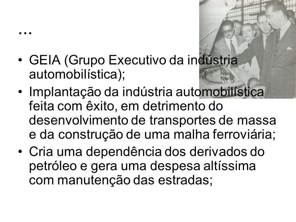 ... GEIA (Grupo Executivo da indústria automobilística); Implantação da indústria automobilística feita com êxito, em detrimento do desenvolvimento de