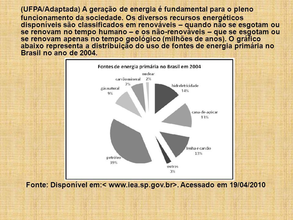(UFPA/Adaptada) A geração de energia é fundamental para o pleno funcionamento da sociedade. Os diversos recursos energéticos disponíveis são classific