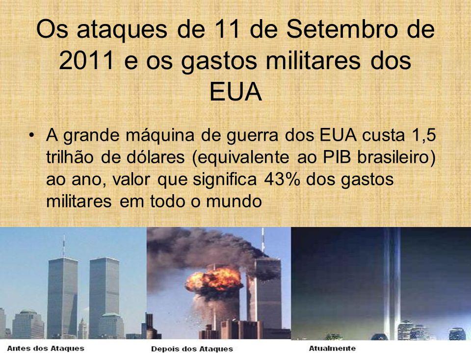 Os ataques de 11 de Setembro de 2011 e os gastos militares dos EUA A grande máquina de guerra dos EUA custa 1,5 trilhão de dólares (equivalente ao PIB
