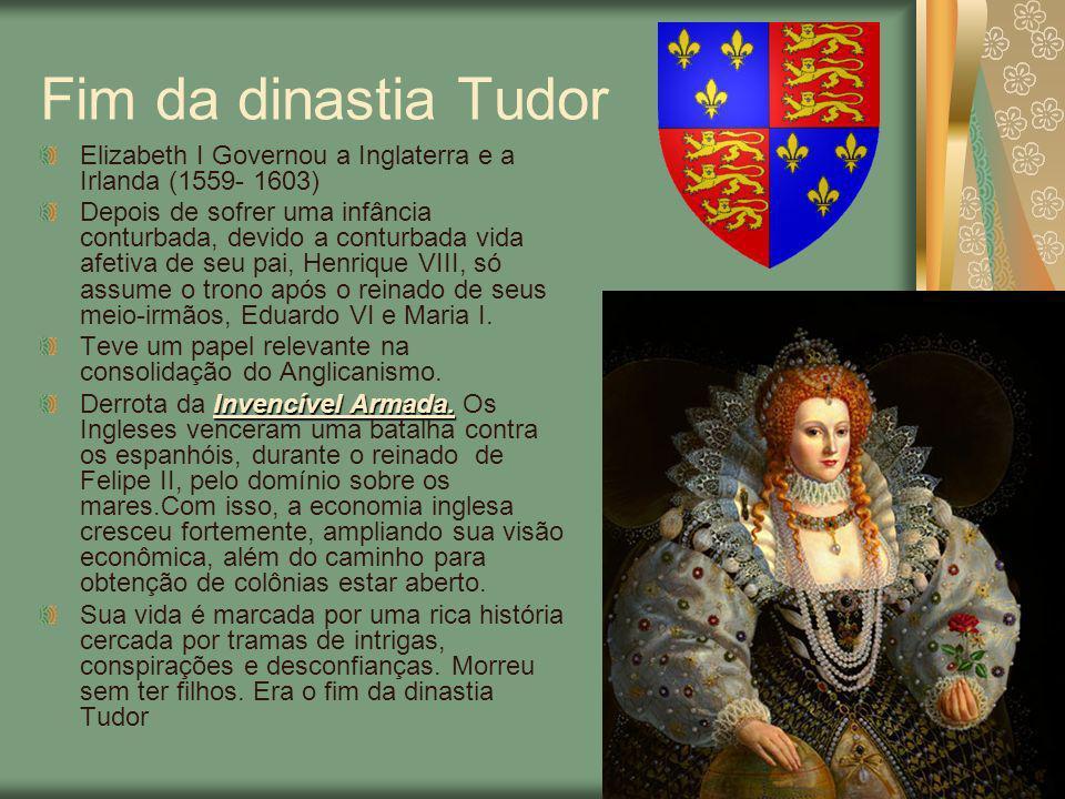 Dinastia Stuart Jaime I (1604- 1625) Absolutista, baseado na Teoria Divina dos Reis Entrou em conflito com o Parlamento por não consultá-lo a cerca da criação de impostos e pela derrubada de tarifas alfandegárias entre a Escócia e a Inglaterra.