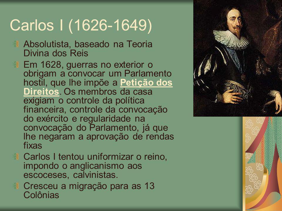 O agravamento dos problemas com o Parlamento O rei passou a cobrar impostos caídos em desuso, como o Ship Money, instituído em cidades portuárias para combater a pirataria e agora estendido a todo o reino, sem a aprovação do Parlamento.