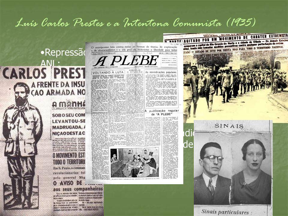 Luís Carlos Prestes e a Intentona Comunista (1935) Repressão por parte do governo às ações da ANL; O governo fecha a ANL, levando a oposição comunista