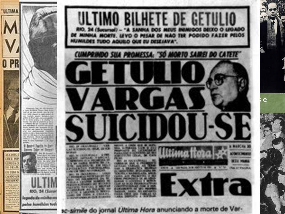 Acima um registro da saída do funeral de Getúlio Vargas Dir/esquerda: Tancredo Neves e João Goulart...