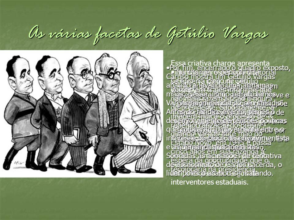 As várias facetas de Getúlio Vargas Essa criativa charge apresenta algumas representações de Getúlio ao longo de seu governo. A primeira caricatura re