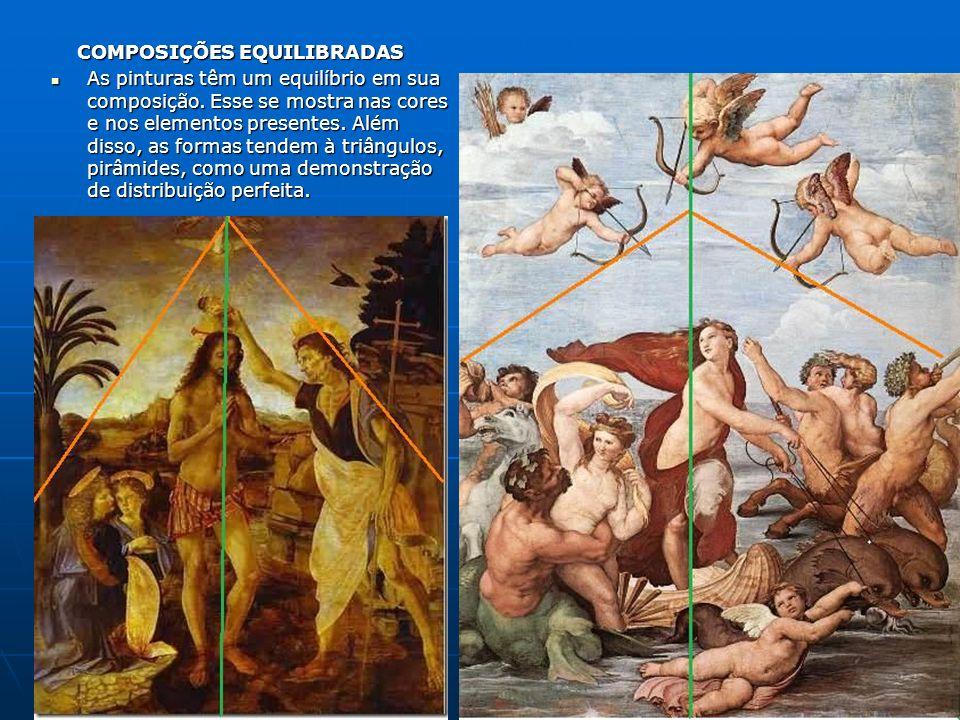 COMPOSIÇÕES EQUILIBRADAS COMPOSIÇÕES EQUILIBRADAS As pinturas têm um equilíbrio em sua composição. Esse se mostra nas cores e nos elementos presentes.