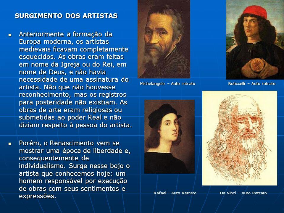 SURGIMENTO DOS ARTISTAS SURGIMENTO DOS ARTISTAS Anteriormente a formação da Europa moderna, os artistas medievais ficavam completamente esquecidos. As