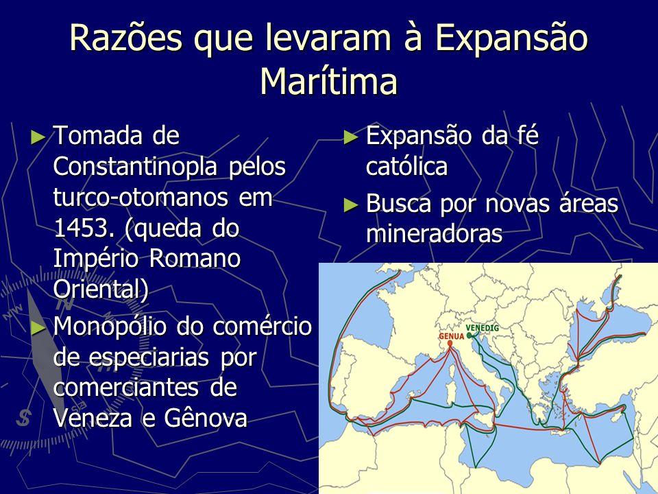 Razões que levaram à Expansão Marítima Tomada de Constantinopla pelos turco-otomanos em 1453. (queda do Império Romano Oriental) Tomada de Constantino