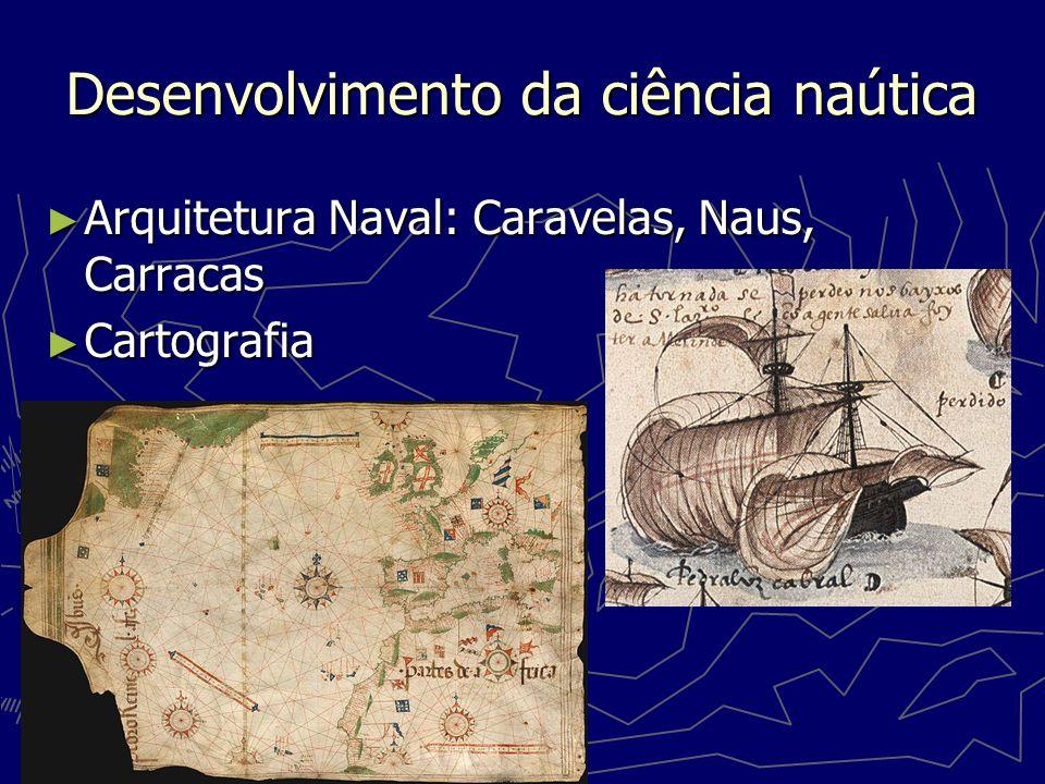 Desenvolvimento da ciência naútica Arquitetura Naval: Caravelas, Naus, Carracas Arquitetura Naval: Caravelas, Naus, Carracas Cartografia Cartografia