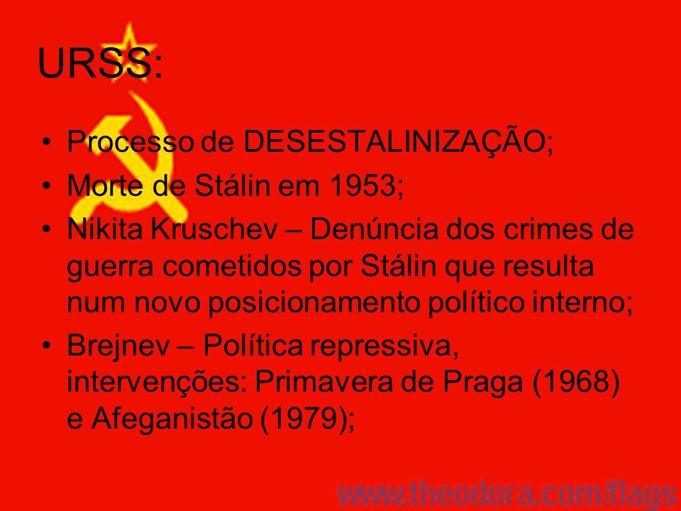 URSS: Processo de DESESTALINIZAÇÃO; Morte de Stálin em 1953; Nikita Kruschev – Denúncia dos crimes de guerra cometidos por Stálin que resulta num novo