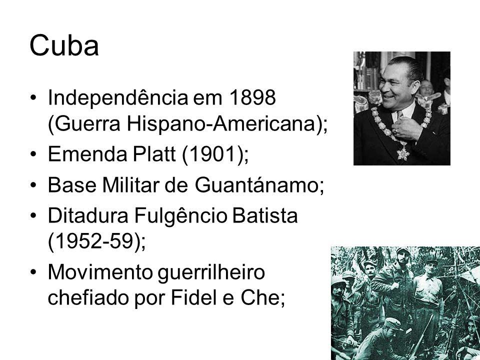 Cuba Independência em 1898 (Guerra Hispano-Americana); Emenda Platt (1901); Base Militar de Guantánamo; Ditadura Fulgêncio Batista (1952-59); Moviment