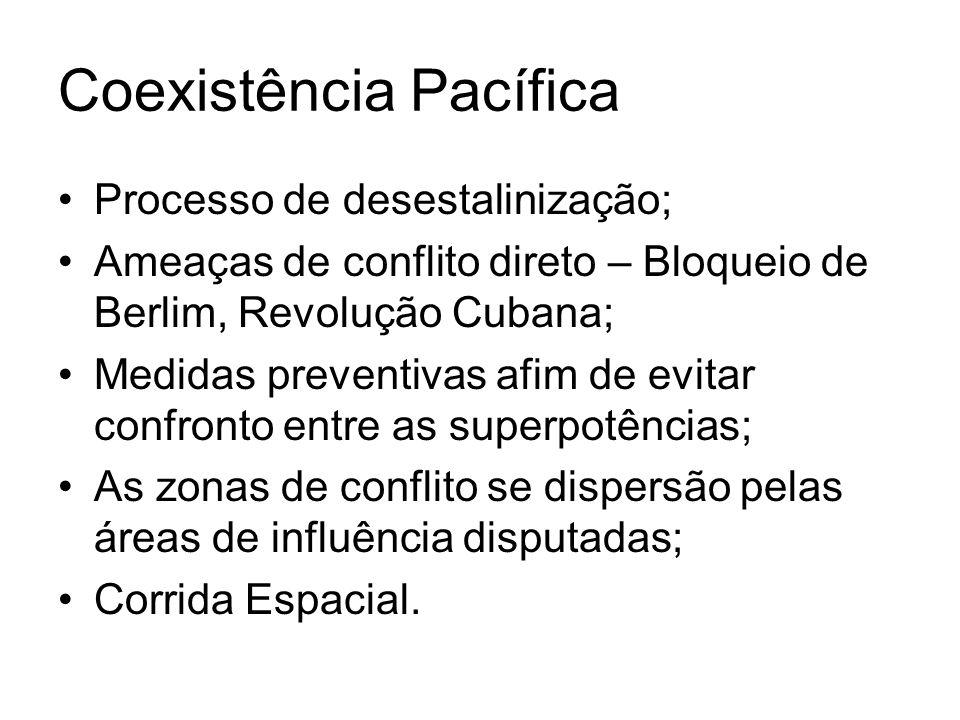 Coexistência Pacífica Processo de desestalinização; Ameaças de conflito direto – Bloqueio de Berlim, Revolução Cubana; Medidas preventivas afim de evi