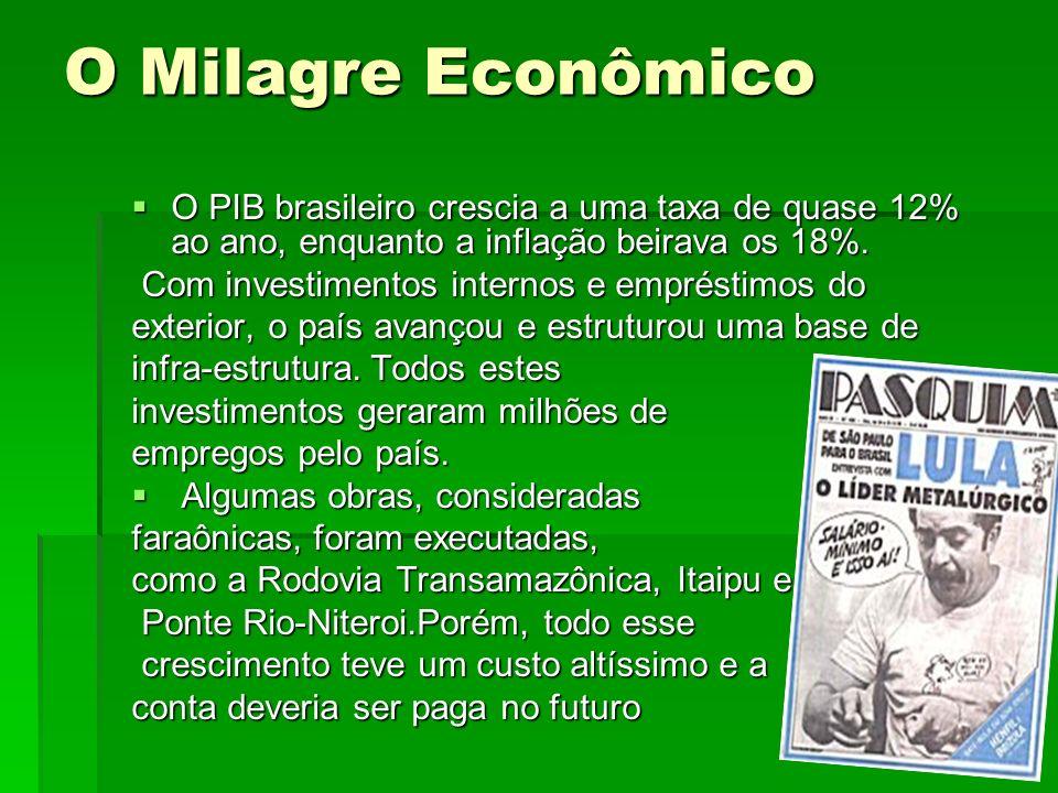 O Milagre Econômico O PIB brasileiro crescia a uma taxa de quase 12% ao ano, enquanto a inflação beirava os 18%. O PIB brasileiro crescia a uma taxa d