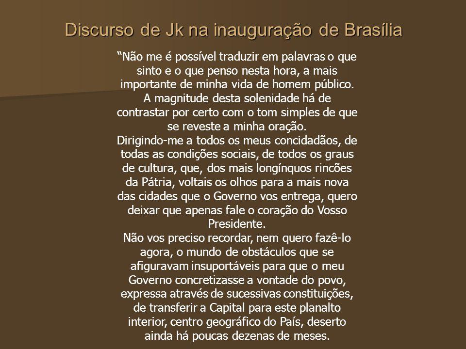 Discurso de Jk na inauguração de Brasília Não me é possível traduzir em palavras o que sinto e o que penso nesta hora, a mais importante de minha vida
