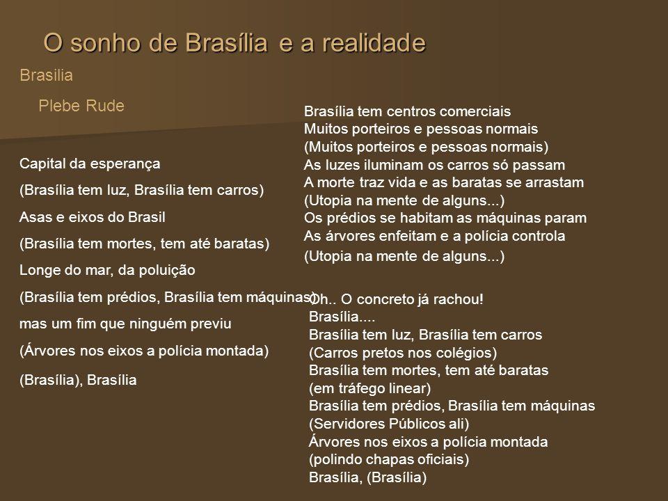 O sonho de Brasília e a realidade Brasilia Plebe Rude Capital da esperança (Brasília tem luz, Brasília tem carros) Asas e eixos do Brasil (Brasília te