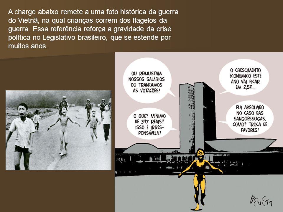 A charge abaixo remete a uma foto histórica da guerra do Vietnã, na qual crianças correm dos flagelos da guerra. Essa referência reforça a gravidade d