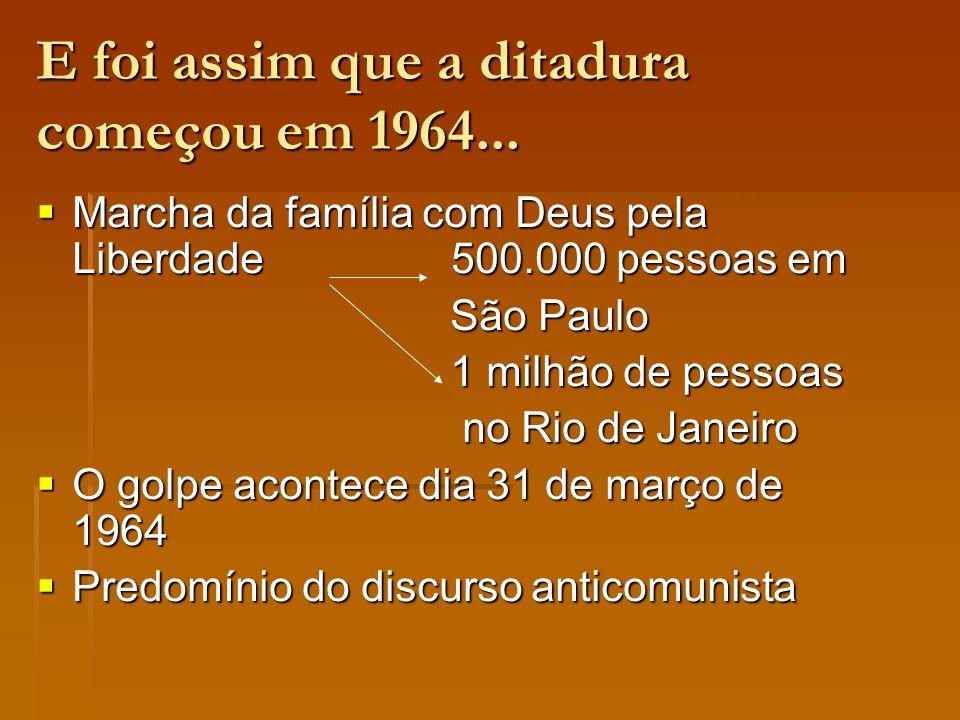 E foi assim que a ditadura começou em 1964... Marcha da família com Deus pela Liberdade 500.000 pessoas em Marcha da família com Deus pela Liberdade 5
