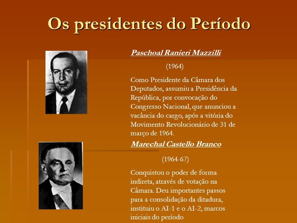 Marechal Costa e Silva (1967-69) Governo marcado pelos protestos e movimentos sociais que levaram a criação do AI-5, que restringiu os direitos civis dos brasileiros.