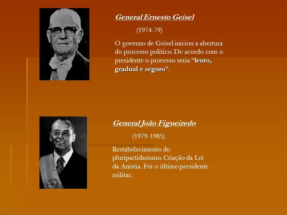 General Ernesto Geisel (1974-79) lento, gradual e seguro O governo de Geisel iniciou a abertura do processo político. De acordo com o presidente o pro