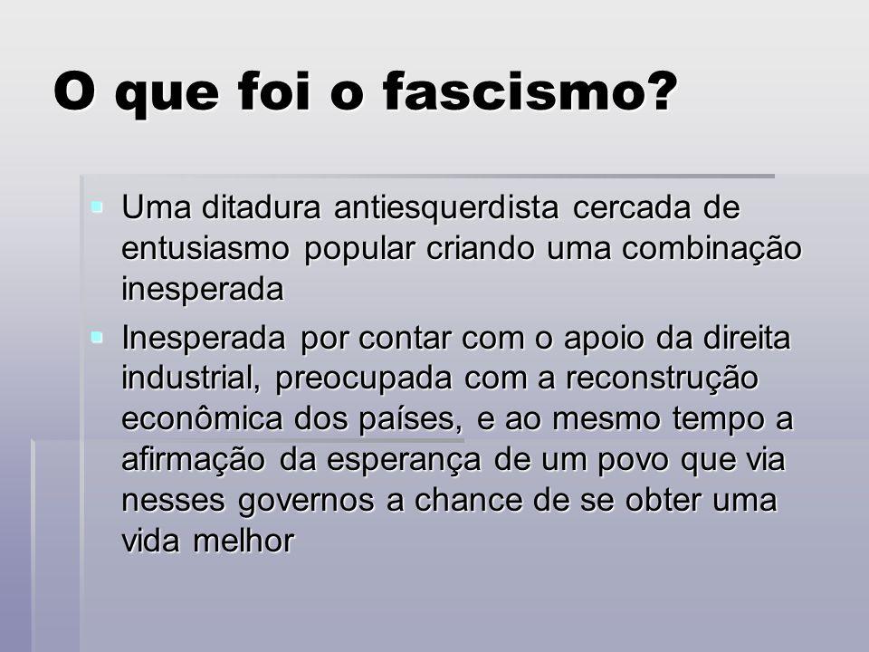 O que foi o fascismo? Uma ditadura antiesquerdista cercada de entusiasmo popular criando uma combinação inesperada Uma ditadura antiesquerdista cercad
