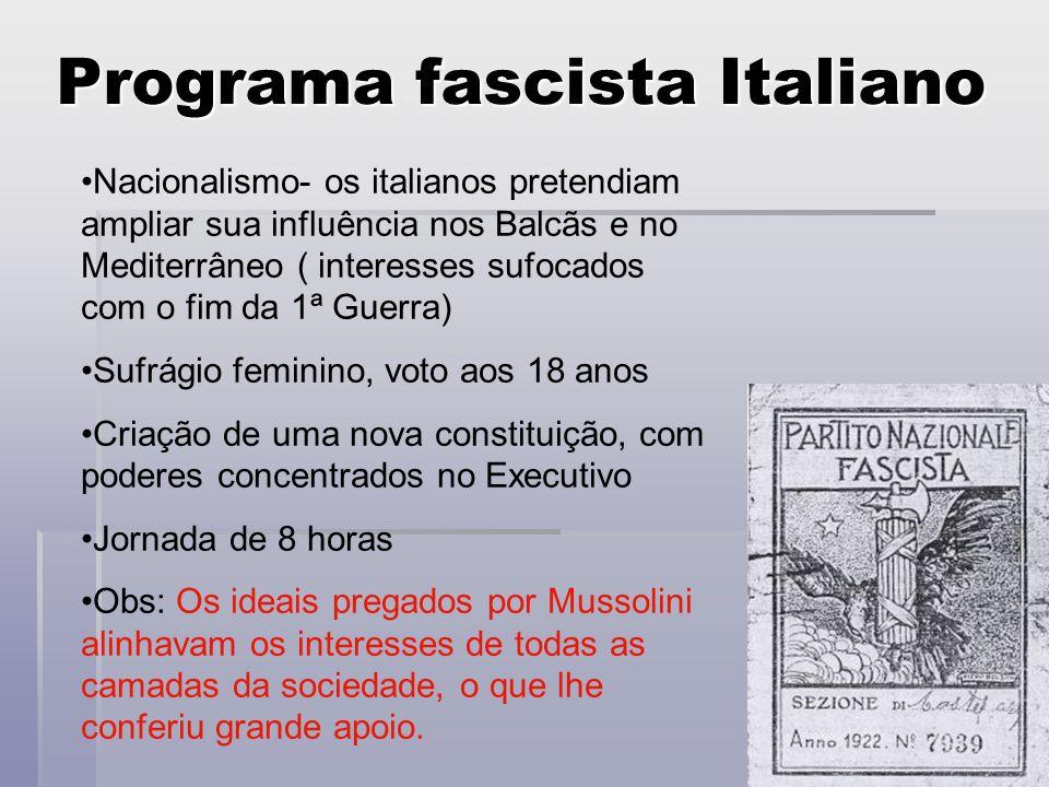 Programa fascista Italiano Nacionalismo- os italianos pretendiam ampliar sua influência nos Balcãs e no Mediterrâneo ( interesses sufocados com o fim
