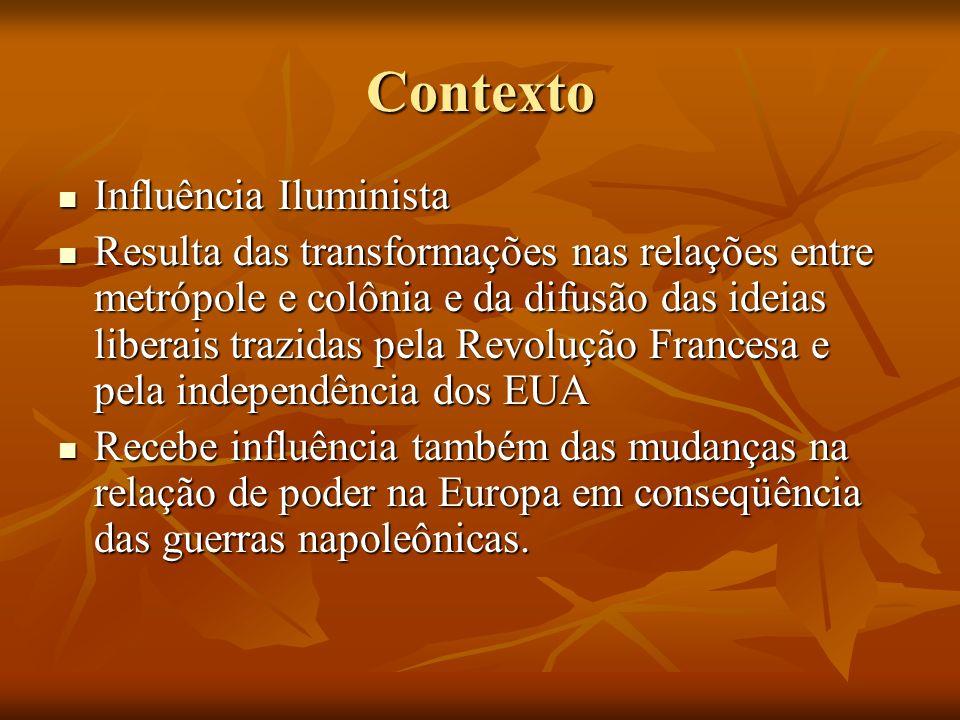 Contexto Influência Iluminista Influência Iluminista Resulta das transformações nas relações entre metrópole e colônia e da difusão das ideias liberai