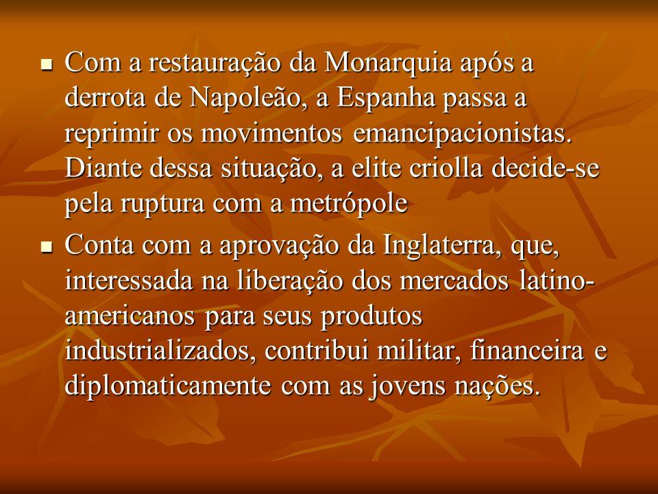 Com a restauração da Monarquia após a derrota de Napoleão, a Espanha passa a reprimir os movimentos emancipacionistas. Diante dessa situação, a elite
