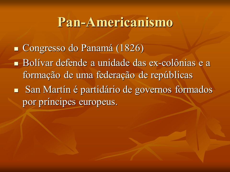 Pan-Americanismo Congresso do Panamá (1826) Congresso do Panamá (1826) Bolívar defende a unidade das ex-colônias e a formação de uma federação de repú