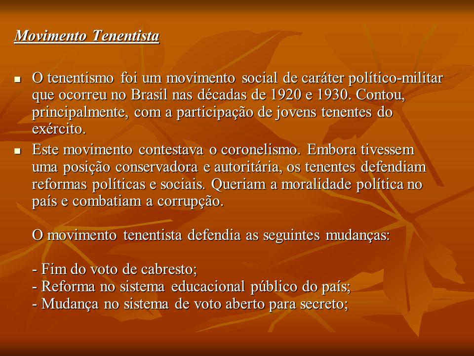 Movimento Tenentista O tenentismo foi um movimento social de caráter político-militar que ocorreu no Brasil nas décadas de 1920 e 1930.