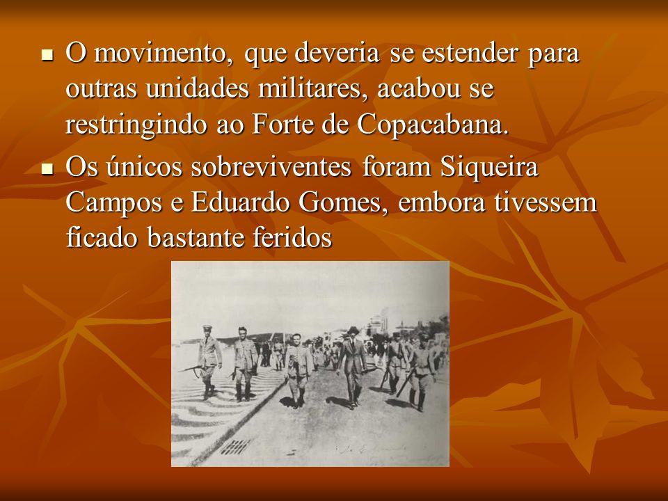 O movimento, que deveria se estender para outras unidades militares, acabou se restringindo ao Forte de Copacabana.