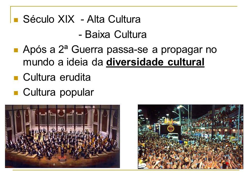 Século XIX - Alta Cultura - Baixa Cultura Após a 2ª Guerra passa-se a propagar no mundo a ideia da diversidade cultural Cultura erudita Cultura popula