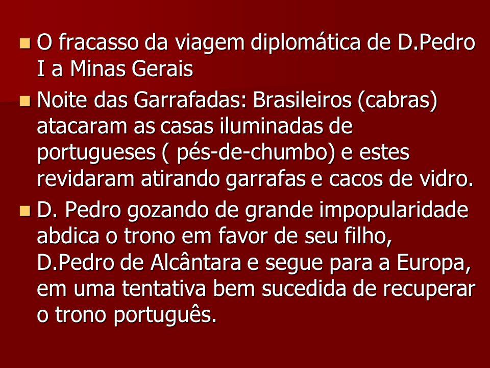 O fracasso da viagem diplomática de D.Pedro I a Minas Gerais O fracasso da viagem diplomática de D.Pedro I a Minas Gerais Noite das Garrafadas: Brasil