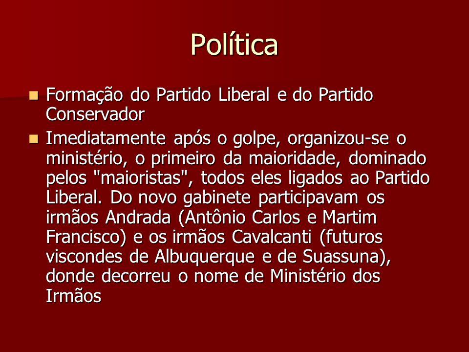 Política Formação do Partido Liberal e do Partido Conservador Formação do Partido Liberal e do Partido Conservador Imediatamente após o golpe, organiz