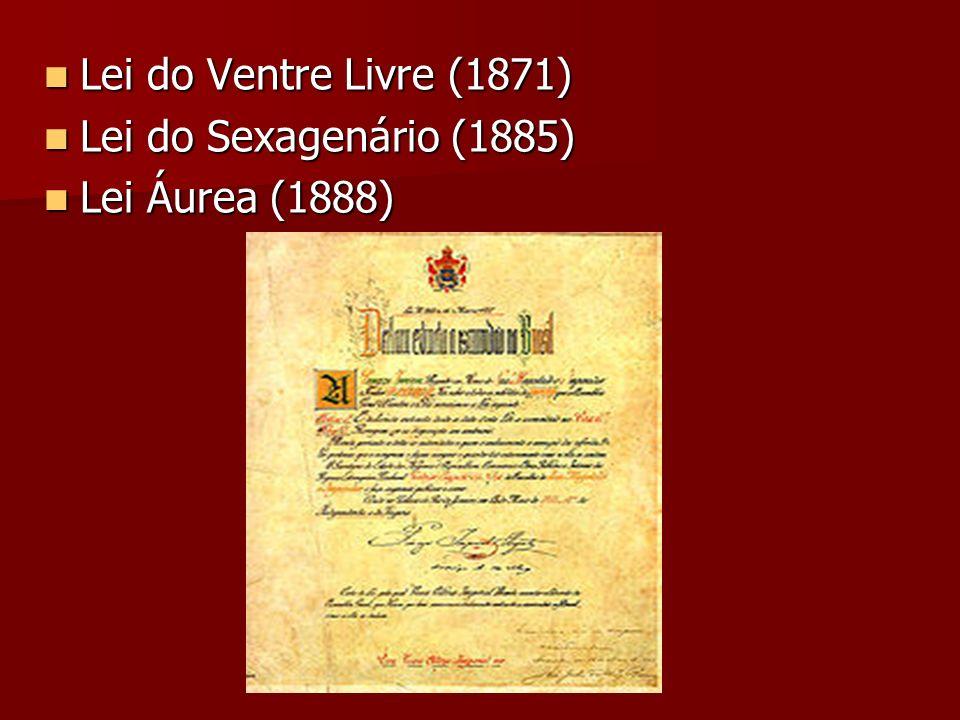 Lei do Ventre Livre (1871) Lei do Ventre Livre (1871) Lei do Sexagenário (1885) Lei do Sexagenário (1885) Lei Áurea (1888) Lei Áurea (1888)