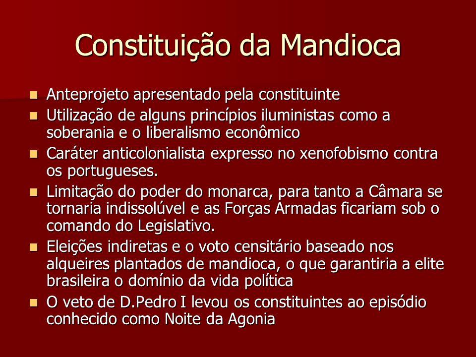 Constituição da Mandioca Anteprojeto apresentado pela constituinte Anteprojeto apresentado pela constituinte Utilização de alguns princípios iluminist