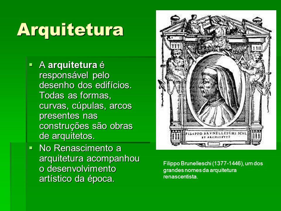 Arquitetura A arquitetura é responsável pelo desenho dos edifícios. Todas as formas, curvas, cúpulas, arcos presentes nas construções são obras de arq