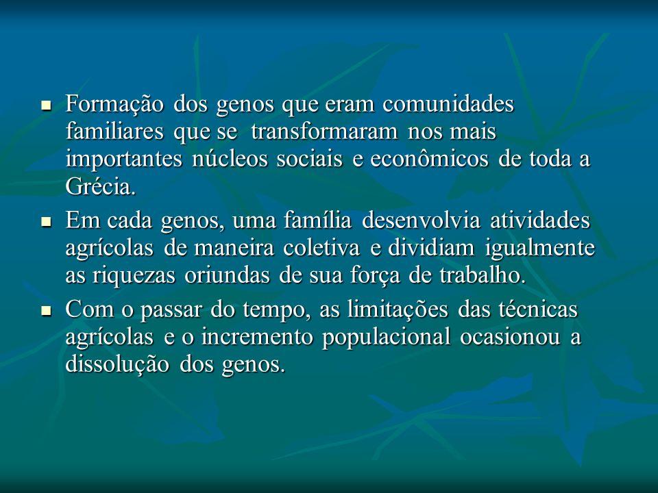 Formação dos genos que eram comunidades familiares que se transformaram nos mais importantes núcleos sociais e econômicos de toda a Grécia.
