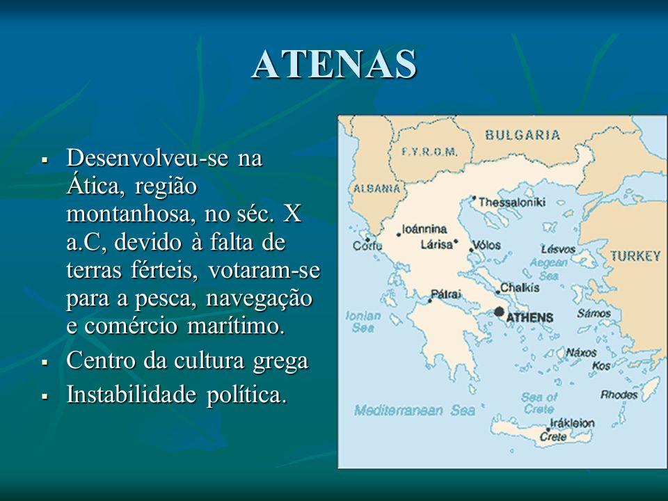 ATENAS Desenvolveu-se na Ática, região montanhosa, no séc.