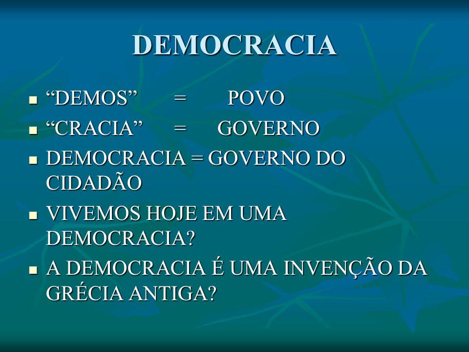 DEMOCRACIA DEMOS = POVO DEMOS = POVO CRACIA = GOVERNO CRACIA = GOVERNO DEMOCRACIA = GOVERNO DO CIDADÃO DEMOCRACIA = GOVERNO DO CIDADÃO VIVEMOS HOJE EM UMA DEMOCRACIA.
